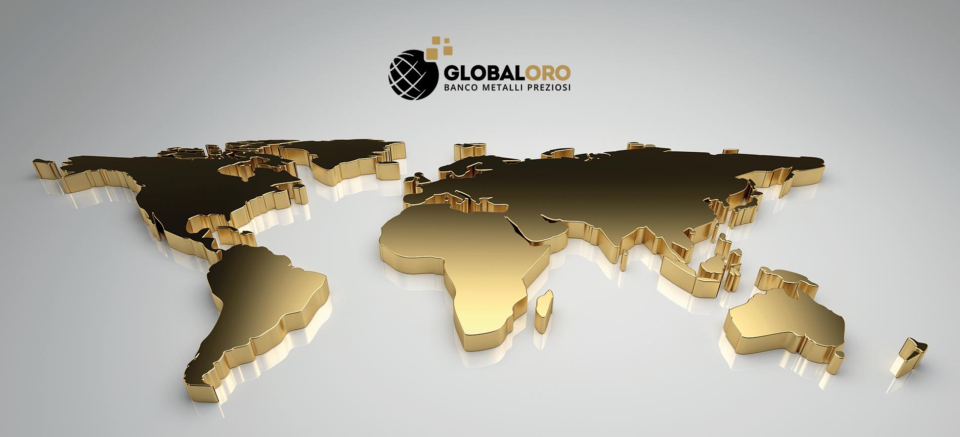 Logo Global Oro con mondo dorato